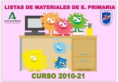 LISTA DE MATERIALES PARA EL CURSO 2020/21
